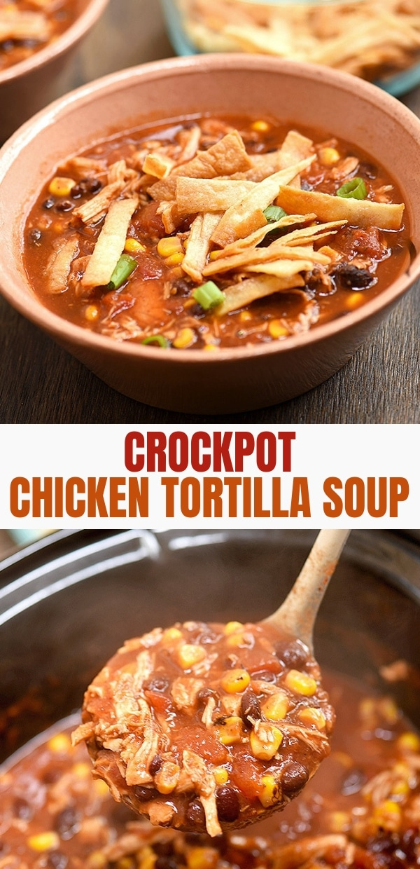 Homemade Chicken Tortilla soup made in the crockpot