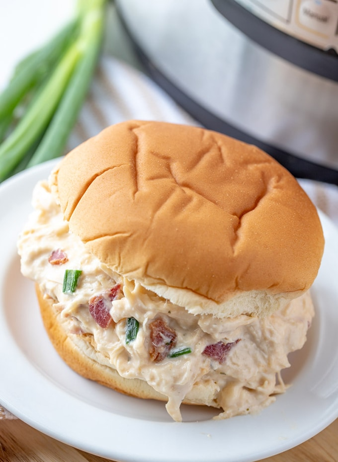 Instant Pot Crack Chicken sandwich on a white plate