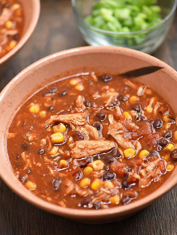 Slow Cooker Chicken Tortilla Soup in a bowl