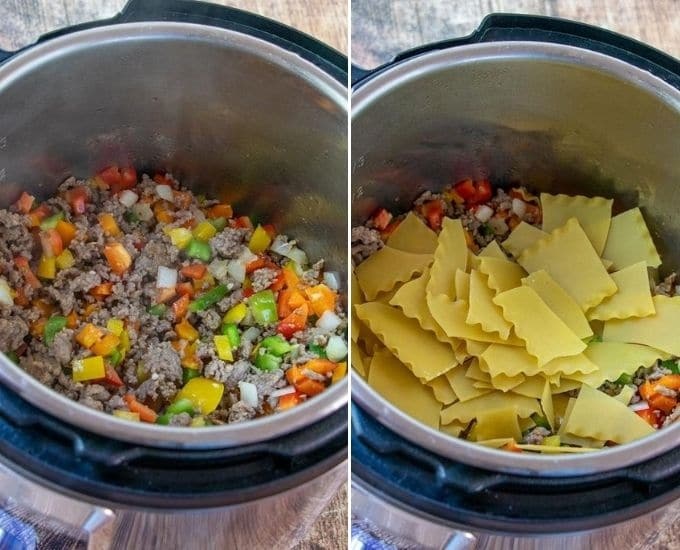 browning Italian sausage, bell peppers, and adding lasagna noodles in Instant Pot