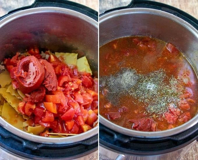 adding chopped tomatoes, tomato paste and broth over lasagna noodles in Instant Pot
