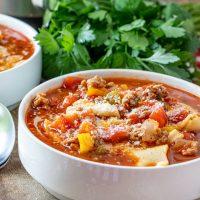 Instant Pot Lasagna Soup in a white soup bowl