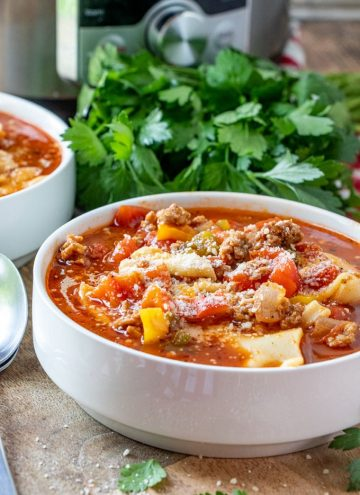 Instant Pot Lasagna Soup in a white soup bowl