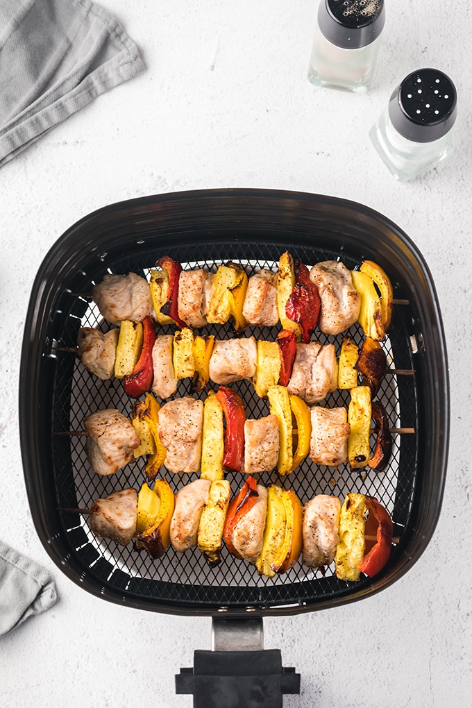 Pineapple chicken skewers with bell peppers cooked in the air-fryer