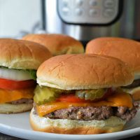 Instant Pot Hamburgers on a white plate
