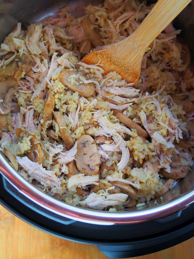 cooked chicken and rice casserole in the Instant Pot