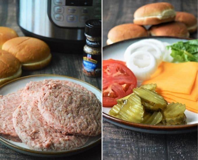 ingredients for Instant Pot hamburgers