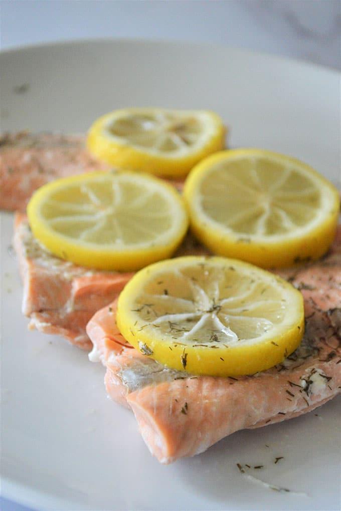 Instant Pot Lemon Dill Salmon on a white plate