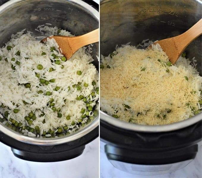 Adding Parmesan cheese to cooked Basmati rice and peas in the pressure cooker