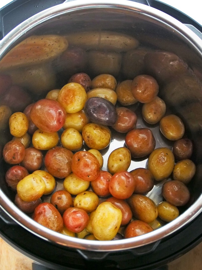 sauteing baby potatoes in the Instant Pot