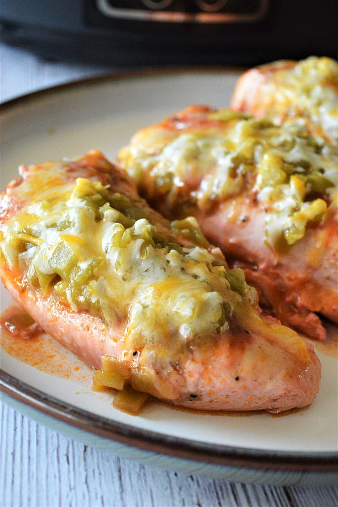 Slow Cooker Enchilada Chicken on a plate