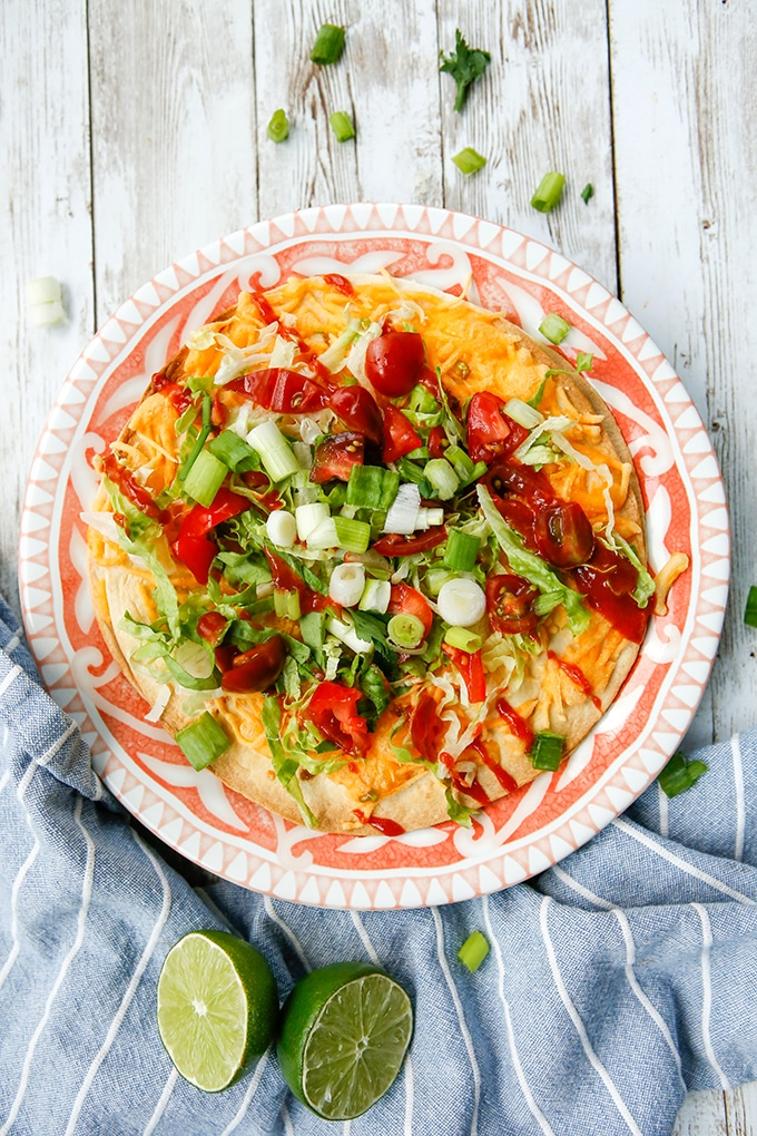Air Fryer Mexican Pizza on a plate