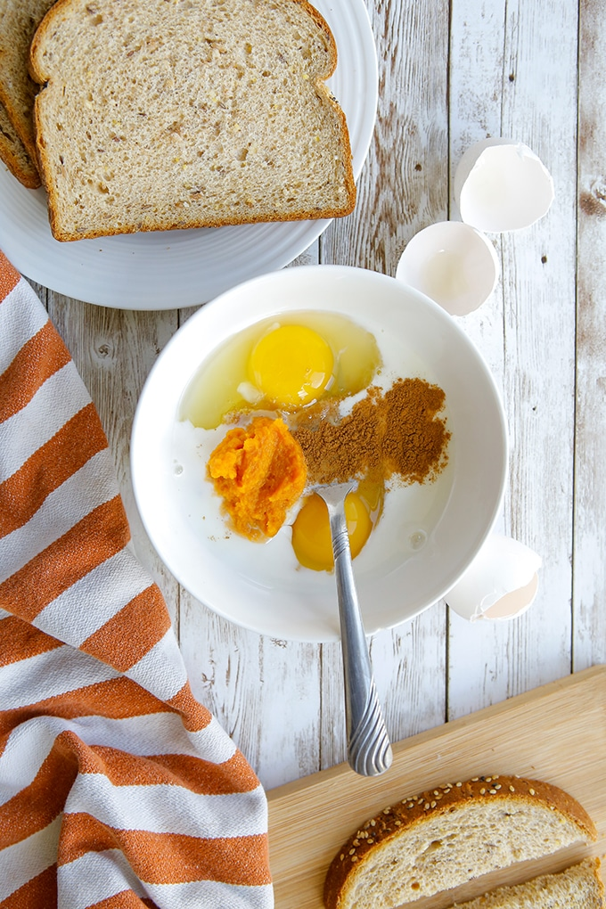 pumpkin egg custard and bread to make French toasts