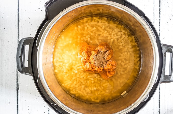 macaroni, water, pumpkin puree in the Instant Pot
