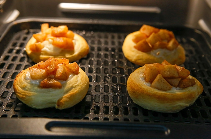 apple danishes cooking in the air fryer