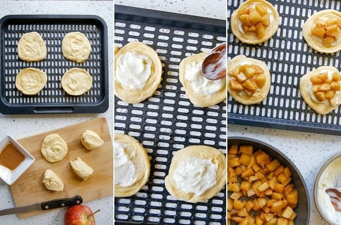 preparing mini danishes with cream cheese and cinnamon apples on air fryer rack