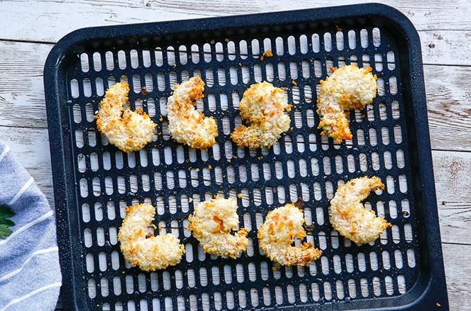 crispy shrimp on an air fryer rack