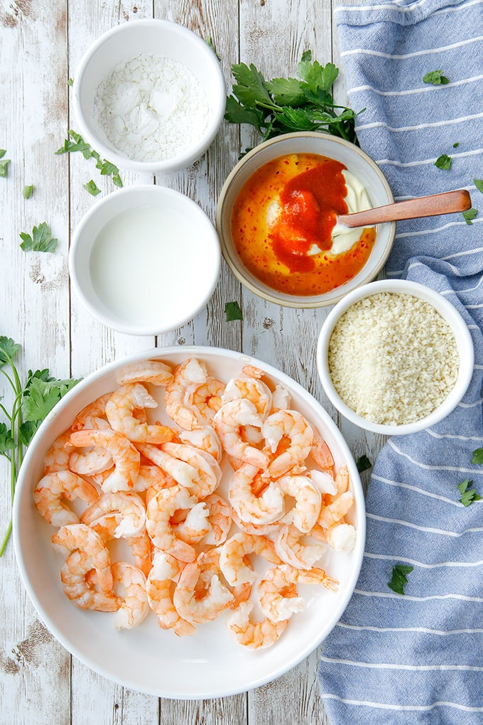cooked shrimp, bread crumbs, buttermilk, mayo with sweet chili sauce