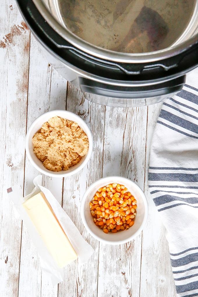 brown sugar, popcorn kernels, butter, Instant Pot