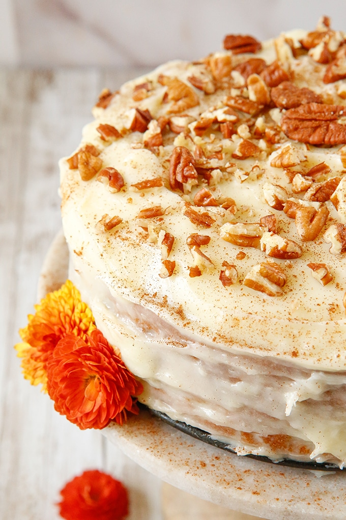 Instant Pot Carrot Cake with Cream Cheese Frosting and chopped pecans