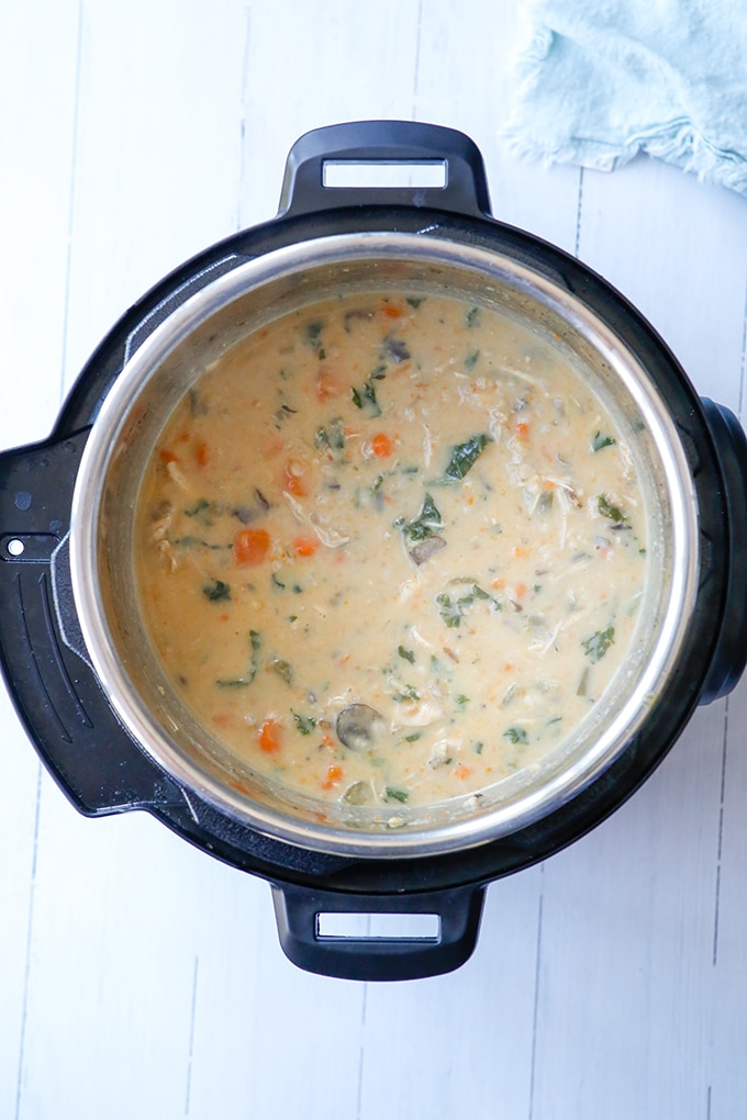 creamy chicken and wild rice soup in the Instant Pot
