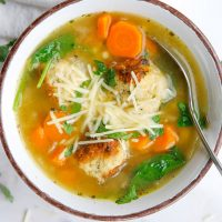 Instant Pot Italian Wedding Soup in a bowl with a spoon