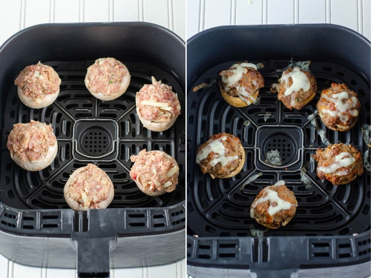 cooking stuffed mushrooms in the air fryer