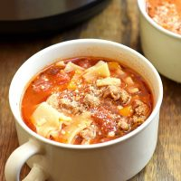 Instant Pot Lasagna Soup in a soup cup